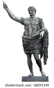 Roman emperor Augustus Caesar statue isolated on white, clipping path included