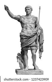 Roman emperor Augustus from Prima Porto statue isolated over white background