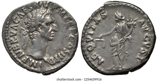 Roman Empire coin denarius 97 AD, laureate head of Emperor Nerva, female holding scales and horn of plenty as personification of justice,