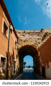 Roman entrance to the town of Tarragona, Catalonia, Spain. The city was an important Roman city named Tarraco