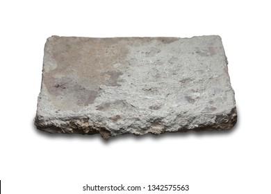 Roman flat-shaped brick. Isolated over white background