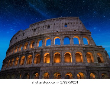 Roman Flavian Amphitheater or better known as the Colosseum photographed at night