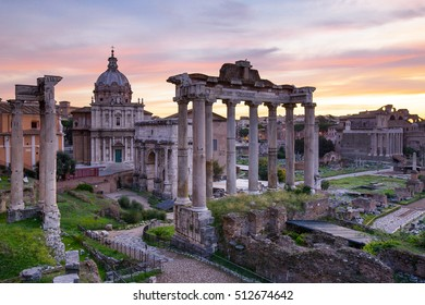 Roman forum ancient building landmark history in Rome Italy.