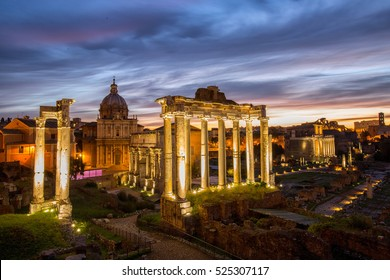 Roman forum ancient building landmark history in Rome Italy.