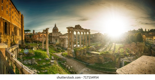 Roman forum ancient culture landmark ,historic building with panorama.