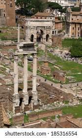 Roman Forum with Arch of Septimius Severus and Temple of Castor and Pollux in Rome, Italy