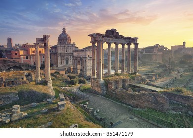 Roman Forum. Image of Roman Forum in Rome, Italy during sunrise.