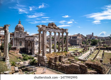 Roman forum, Italy with blue sky on summer day