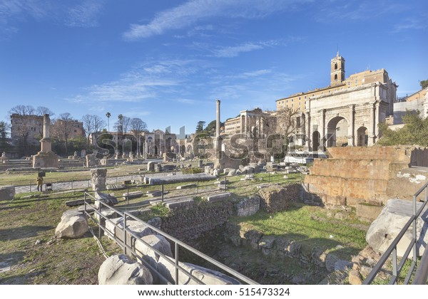 Roman forum with Lapis Niger (venerated by the Roman people as the location of the tomb of Romulus) in foreground, Rome, Italy