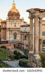 Roman Forum (Forum Romano), Italy. Ancient Roman ruins.