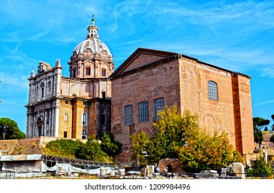 Roman forum in Rome with Curia Julia