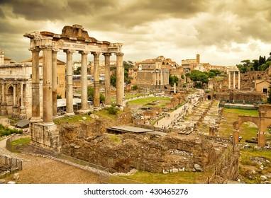 The Roman Forum in Rome, Italy.