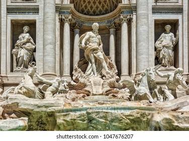 ROMAN FORUM, ROME, ITALY - MAY 17, 2017: The Fontana di Trevi (Trevi Fountain) in Rome.