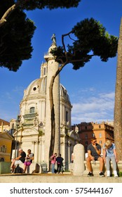 ROMAN FORUM, ROME- SEPTEMBER 24: Santa Maria di Loreto Church and Trajan's Column, crowded  with tourists, pilgrims and travelers from all over the world.September 24, 2015 in Rome, Italy.