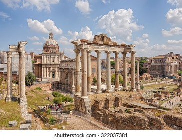 Roman Forum - Forum (Square) in the heart of ancient Rome with the surrounding buildings. Italy.