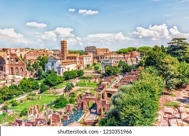 The Roman Forum, the Tower of the Militia and the Coliseum view