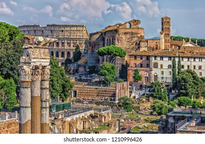 The Roman forum, view on the Coliseum, the Temple of Venus Genetrix Ruins, The Temple of Venus and Roma and the Tower of the Militia on the background