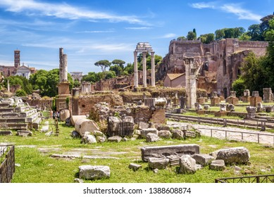 Roman Forum view in summer, Rome, Italy. It is one of the top tourist attractions of Rome. Scenic panorama of ancient ruins of Rome. Famous remains of the Roman Empire in the Rome city center.