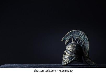 Roman helmet, on a dark background