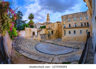 Roman historical theatre, ancient construction of Italy into the old historic city of Lecce