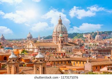 Roman house and Basilica dei Santi Ambrogio e Carlo al Corso  Rome, italy