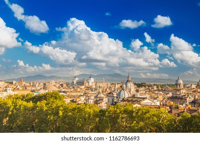Roman landscape, panoramic skyline view of Rome from Castel Sant'Angelo, Italy