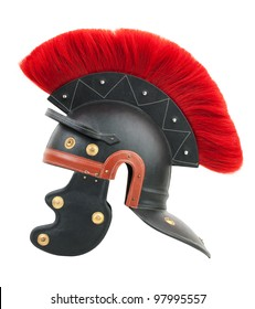 Roman legionary helmet with a crest on a white background