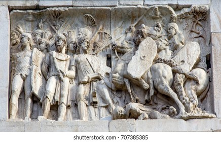 Roman Legionnaires Military Battle Arch of Constantine Rome Italy Arch built in 315 AD to celebrate Emperor Constantine's victory in 312.  Constantine made Christianity legal