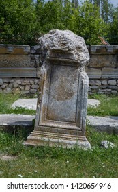 Roman letters on stone at Aizonai, Anatolia, Turkey.