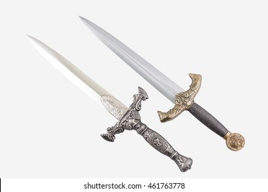 Roman military daggers on white background, isolated