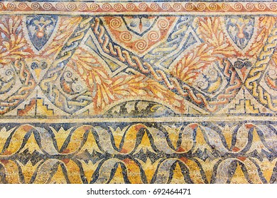 Roman mosaic background. La Olmeda, Palencia, Spain