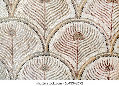 Roman mosaic tiles, detail of ancient wall decorated historic, textured background, ancient art