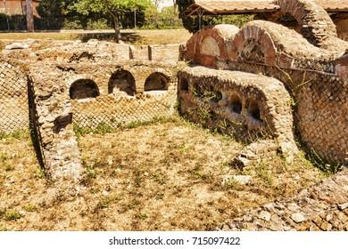 Roman necropolis columbarium in Ostia Antica - Rome, Italy