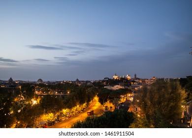 Roman night life, Roman city scape, Famous buildings with light