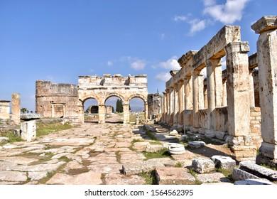 Roman North Gate, in the ruins of Hierapolis, Pamukkale, Denizli, Turkey,
