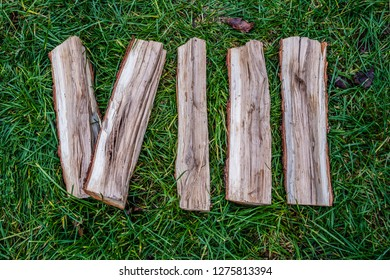 Roman numeral. Roman numerals VIII made from oak.