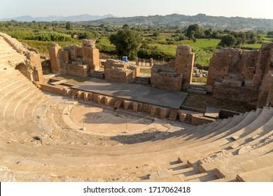 roman odeon theater   in ancient nikopolis area preveza perfecture greece