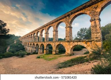 Roman Ponte del Diable in tarragona,Spain at sunset