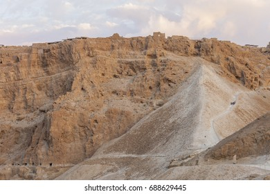 The Roman Ramp in Masada stronghold, Judea Desert, Israel