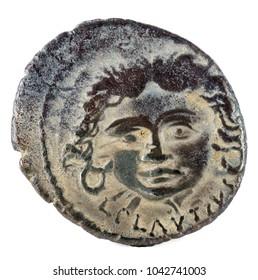 Roman Republic Coin. Ancient Roman silver denarius of the family Plautia. Obverse.