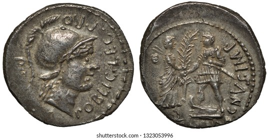 Roman Republic silver coin denarius 46-45 BC, coinage of Pompey the Younger, helmeted head of Mars right, Pompey and personification of Spain holding branch,