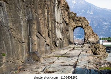 Roman road to the Gauls, its Arch and Milestone in Aosta Valley, Donnas, Valle d'Aosta, Italy