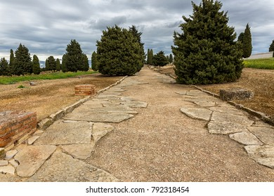 Roman road in the ruins of Italica. Located in Santiponce near Sevilla. Spain.