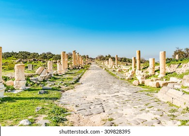 Roman road of Umm Qais in northern Jordan. It is located in the extreme north-west of the country, where the borders of Jordan, Israel and Syria meet.