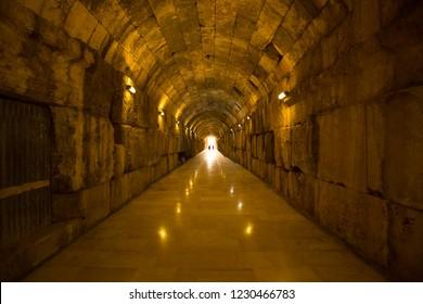 Roman ruins of ancient Heliopolis temple complex. Baalbek, Bekaa Valley, Lebanon.