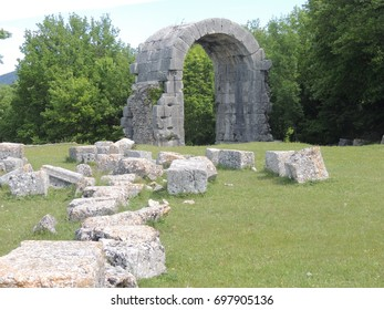 Roman ruins in the archaeological site of Carsulae in Italy.