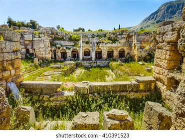 roman ruins of baths in Ancient Corinth, Peloponnese