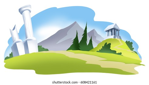 Roman Ruins. A cartoon illustration background vignette, showing ruined roman columns, and a small greek temple on a mound rising in the background.