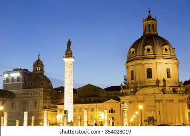 Roman Ruins of Foro Traiano (Trajan Forum)Trajan Market, Church of Santa Maria di Loreto, Trajan column and Torre delle Milizie Beautiful Panorama at Night blue cloud in Summer in Rome, Italy