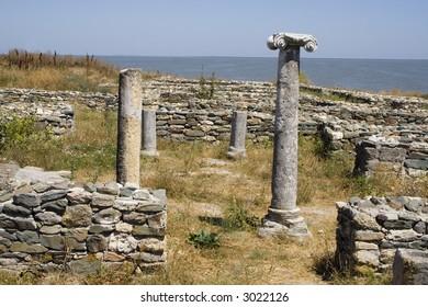 Roman ruins of Histria citadel and column